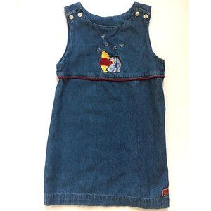 VINTAGE DISNEY STORE POOH DENIM DRESS JUMPER 4/5